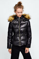 Zara Shiny Duck Down Feather Puffer Quilted Jacket Coat Fur Hood XS S M L XL