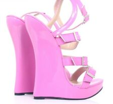 Sexy pink/custom extreme killer 18cm high heel strappy wedge mule sandals fetish