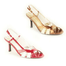 WOMENS STRAPPY SLINGBACK MID HIGH STILETTO HEEL SANDALS LADIES SHOES SIZE 3-6