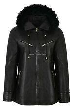 Ladies Real Leather Jacket Black Fur Hooded Parka Style Hip Length Isabel 142