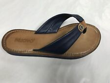 Inuovo navy leather flip flop diamonte feature
