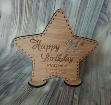 HAPPY BIRTHDAY STAR DECORATION, PERSONALISED, WOODEN GIFT