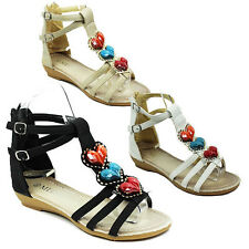 WOMENS HEART BEADED GLADIATOR STRAPPY LOW WEDGE HEEL LADIES ANKLE SANDALS 3-8