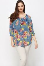 Marina Kaneva Blue Floral Chiffon Tunic Blouse Top Plus Size 16 18 20