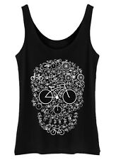 Bicycle Skull Tank Top Womens Ladies Vest bike cycling rider cyclist gift