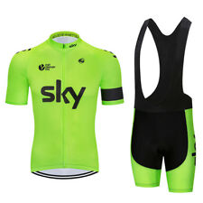 Completo Ciclismo PRO TEAM SKY VERDE FLUO 2018 set divisa cycling jersey 9d