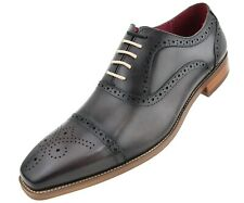 NEW Asher Green Mens Genuine Leather Cap Toe Oxford w/ Decorative Broguing