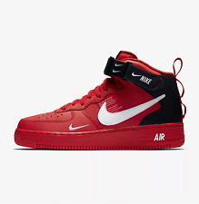 NIKE AIR FORCE 1 '07 MID LV8 UTILITY - RED/WHITE/BLACK 804609 605 - UK 9,9.5,10