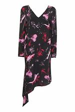 Topshop BOUTIQUE Pure Silk He Loves Me Asymetric Dress Black Pink UK 6 8 10 12