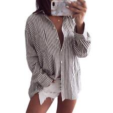 Long Sleeve Turn-down Collar Button-down Striped Blouse