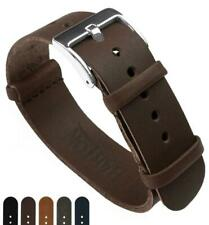 Barton Leather NATO Style Watch Straps - Choose Color, Length & Width - 18mm, 20