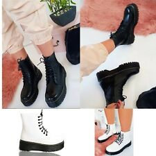 Womens Ladies Chunky Lace Up Ankle Boots Platform Doc Goth Black Shoes Size