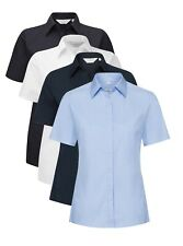 Womens Ladies BLACK WHITE or BLUE Stretch Cotton Blend Short Sleeve Shirt Blouse