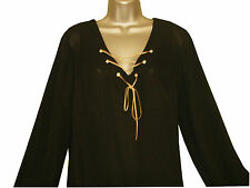 Plus size black lightweight chiffon long sleeved top with eyelet detail