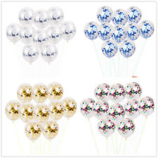 "10PCS 12"" Confetti Latex Balloons Golden/Multi Helium Birthday Wedding Hen Party"