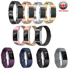 For Fitbit Charge 2 Watch Strap Wrist Band Soft Silicone Stainless Steel Crystal