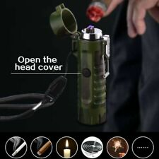 Mini Dual Arc Electric USB Lighter Waterproof Rechargeable Outdoor Flashlight