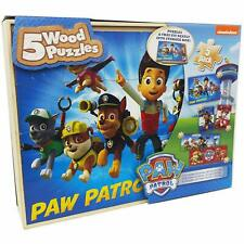 NEW Paw Patrol Chase & Marshall  5-Pack Wood Puzzles In Wooden Storage Box