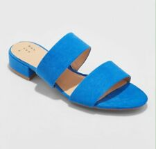 f8441def3b4 A New Day Blue Kyrielle Slide Sandals Open Toe Block Heel Shoes 2 Strap