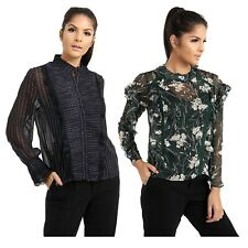 Women's Sheer Mesh Blouse Long Sleeves Top Round Neck Floral Printed Frill Shirt