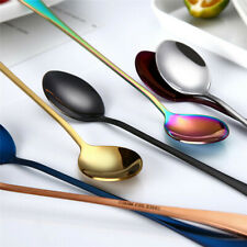 410 stainless steel Colorful Spoon Long Handle Spoons Flatware Coffee Drinking