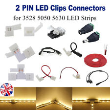 2 Pin Hippo Adapter Connector Straight L T Clip Ext Wire DC Male LED Strip 3528
