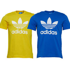 ADIDAS ORIGINALS MEN'S TREFOIL CREW NECK T SHIRT in BLUE OR YELLOW-FREE DELIVERY