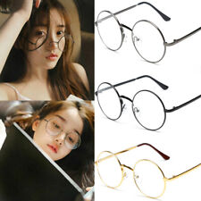 Women Men Large Oversized Metal Frame Clear Lens Round Circle Eye Glasses Nerd