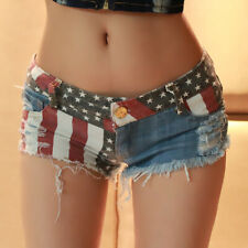 Sexy Women Low Waist Short Splice Jeans Pants Flag Printed Denim Shorts Clubwear