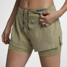 """NIKE ECLIPSE 2IN1 WOMEN RUNNING 3"""" SHORTS - NEUTRAL OLIVE 895813-209 - XS M"""
