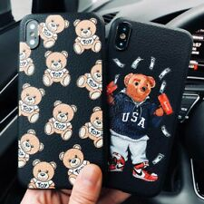 Cute bear Skin texture moschin cover case for iphone 6 plus 7 7plus 8 APPLE