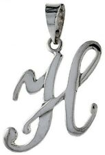Script Letter H Initial sterling silver charm .925 x 1 Letters charms CF7072