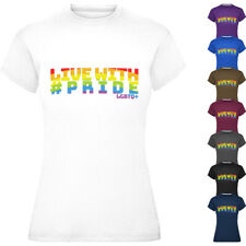 Ladies Live With Pride T-Shirt Adults Womens LGBTQ+ Pride March Tee Top