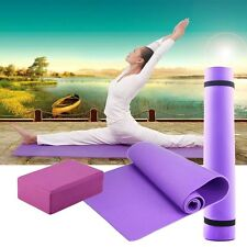 HOT 6mm Thick Non-Slip Yoga Mat+Yoga Block  For Exercise Fitness Lose Weight I2