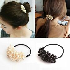 Girls Pearls Beads Ponytail Holder Scrunchies Elastic Hair Band