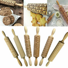 CN_ Wooden disrespect Rolling Pin Engraved Rolling Pin Baking Cookies Biscuit