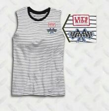 HARLEY-DAVIDSON - STRIPED RAW EDGE SLEEVELESS TEE // WOMEN'S // BRIGHT WHITE