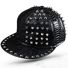 0bfa7eca Men Metal Rivet Baseball Cap Punk Rock Hiphop Hat Unisex Leather Snapback  Cap
