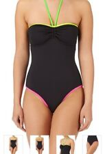 BLACK SWIMMING COSTUME - SURFDOME FLUORESCENT TRIM BANDEAU SMALL 8 10 NEW HALTER