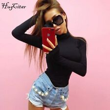 Hugcitar cotton long sleeve high neck skinny bodysuit 2018 autumn winter women