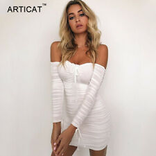 Articat  Women Autumn Winter Bandage Dress Women 2017 Sexy Off Shoulder Long