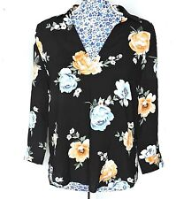H&M Women Floral Black Blouse Collared Hi-Lo Hem Shirt Work Casual Holiday Top