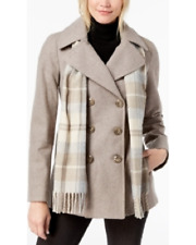 London Fog Double-Breasted Plaid-Scarf Peacoat - Taupe Heather - Size UK L