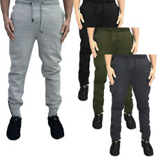 Skinny Fit Joggers Ribbed Knee Track Pants Cuffed Bottoms  Mens Size