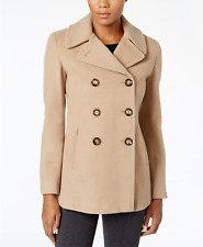 Calvin Klein Wool-Cashmere Double-Breasted Peacoat - Camel - Size UK 14