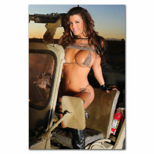 H-1665 Sexy Model Girl with Guns Big Ass Butt Bkini Wall Silk Poster