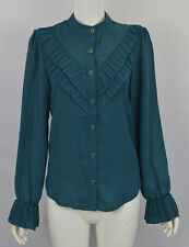 Women's Girl's Long Sleeve Buttons Down Fastening Pleated Top Shirt Blouse.