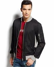 NEW MEN'S Armani Jeans Black Lightweight Contrast Bomber Jacket SIZE L XL