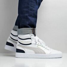check out 2844f 6016a Puma Men s New Ralph Sampson Mid OG Leather Shoes White Grey Navy Blue