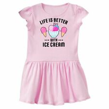 Inktastic Life Is Better With Ice Cream With Bowl And Two Cones Toddler Dress